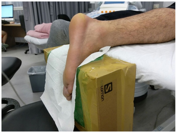 The set-up for examining the stiffness of the Achilles tendon and gastrocnemius muscles by shear wave elastography.