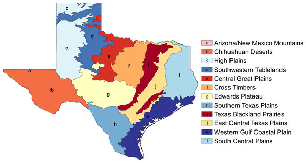 EPA Level III ecoregions in the state of Texas (shapefile downloaded from https://www.epa.gov/eco-research/ecoregion-download-files-state-region-6).
