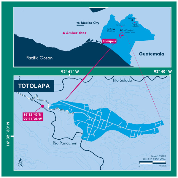 Location of the Río Panachen site near Totolapa, Chiapas, Mexico.