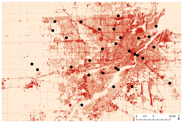 Map displaying site locations and percent impervious surface data in Toledo, Ohio.