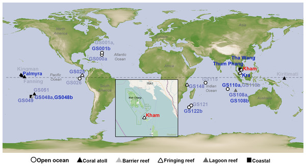 Satellite map showing the location of Kham island (red) relative to Kra, along with the other closely related marine microbial community sites, and all coral reef sites whose online microbial databases are available.