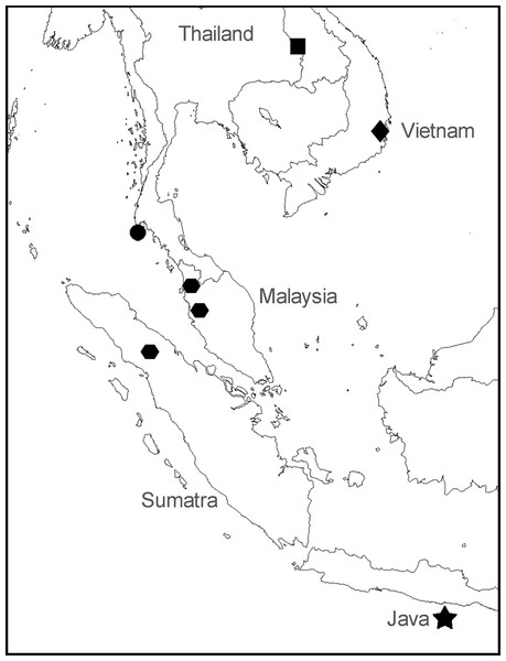 "Sampling locations for specimens of Anentome ""helena."""