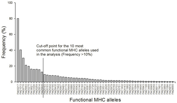 Frequency distribution of the 59 functional MHC class I alleles and cut-off point for the ten most common alleles used in the analysis (Frequency >10%).