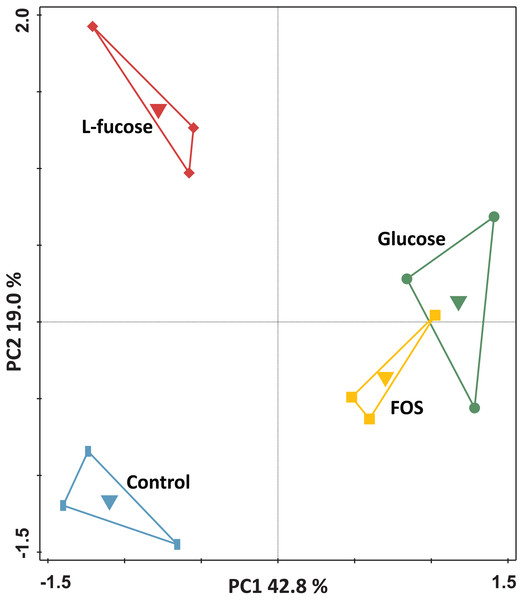 Principal component analysis of the transcriptomes of R. ilealis CRIBT grown on different carbohydrates (glucose, FOS and L-fucose) or in the absence of an additional carbon source (control).