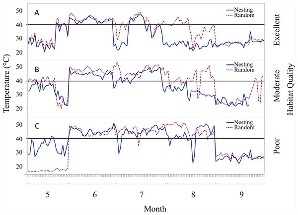 Daily trends of mean temperature at two sensor locations at nest height on three ranches representing excellent, moderate, and poor bobwhite habitat conditions.