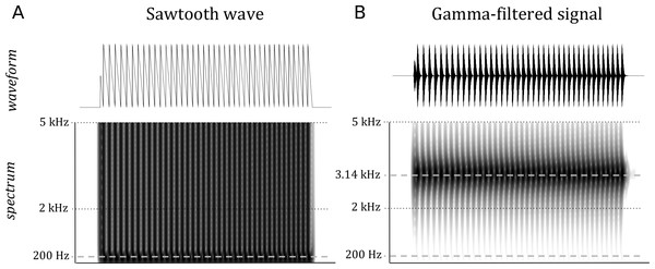 The waveform and spectrum of the original (A) and gamma-filtered (B) sawtooth wave.