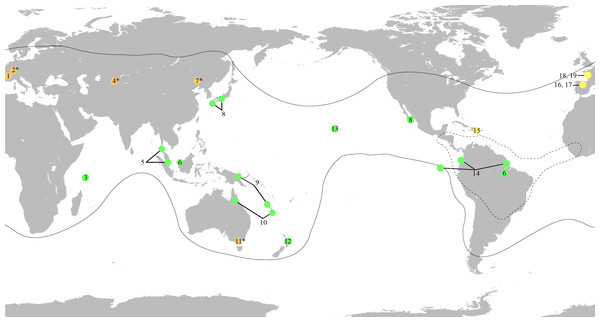 World map showing the distribution of the fossil and extant genera of Mesoveliidae, modified from Andersen & Polhemus (2003).
