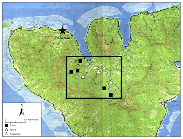 Map of Mo'orea with sampling sites.