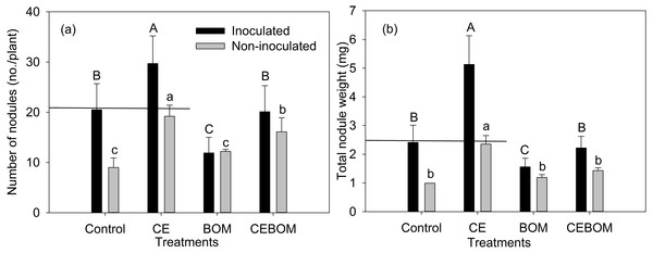 Effects of soil amendment treatments: control, compost extract (CE), bio-organic manure (BOM) and compost extract + bio-organic manure (CEBOM) on inoculated and non-inoculated nodulation of lucerne plants.