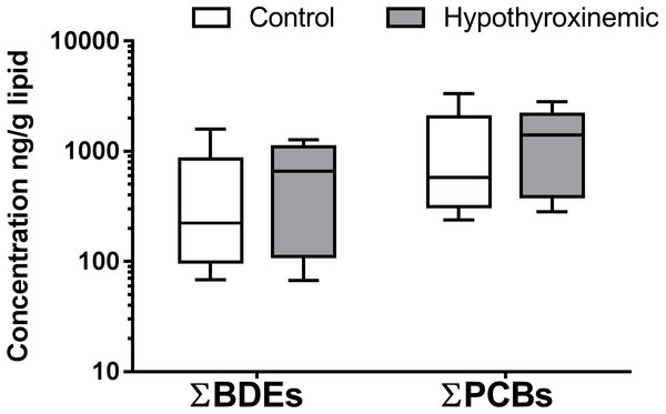 Box and whiskers diagram of ΣPBDEs and ΣPCBs concentrations in canine samples.