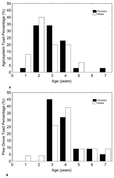 Histograms showing the distributions of percentages of male and female toad age in agrosystem (A) and pine grove (B).