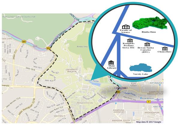 Location of sampling area in the University of Malaya (UM), Kuala Lumpur, Malaysia.