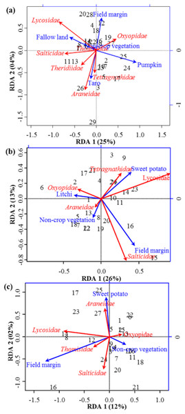 RDA Triplot (RDA on a covariance matrix) of the spatial correlation between Hellinger transformed diversity (H) of spider families and vegetation types surrounding the brassica field using PCNM as distance matrix (A) at Minqing, (B) at Nantong 1 and (C) at Nantong 2.