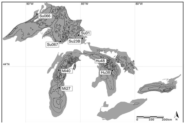 Amphipod collection sites in the Laurentian Great Lakes (August–September, 2014).