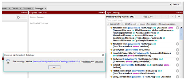 Results of the coherence test using Protégé Ontology Debugger tool.