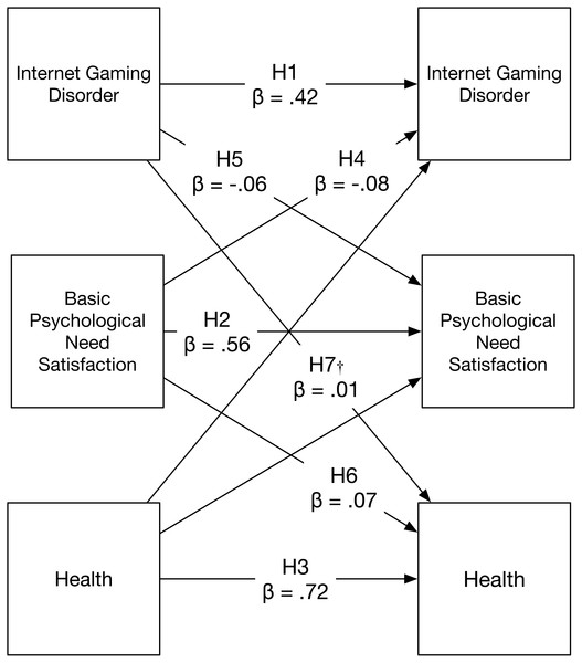Confirmatory two-wave model showing standardised effects of IGD, basic psychological need satisfaction, and health.