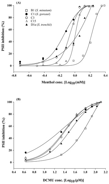 Dose effects of menthol and dichlorophenyl dimethylurea (DCMU) on inactivation of photosystem II (PSII) function in freshly isolated Symbiodinium.