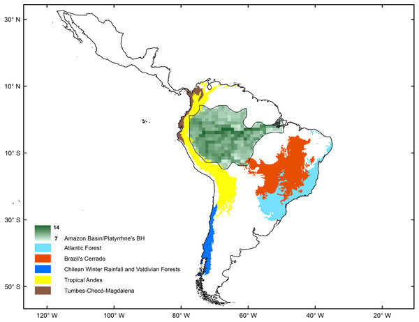 Comparison of biodiversity hotspots for New World monkeys determined by statistical analysis (green) and the Neotropical Biodiversity Hotspots proposed by Myers et al. (2000).