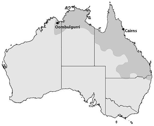 Map of cane toad distribution in Australia.