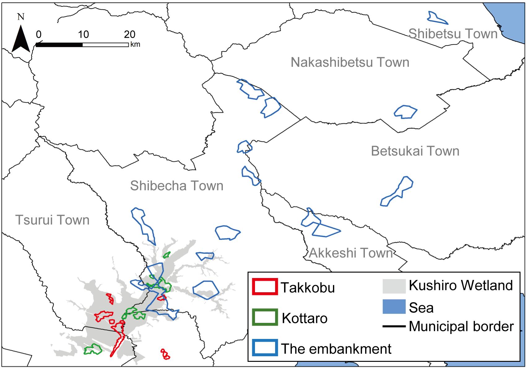 Seasonal and year-round use of the Kushiro Wetland, Hokkaido