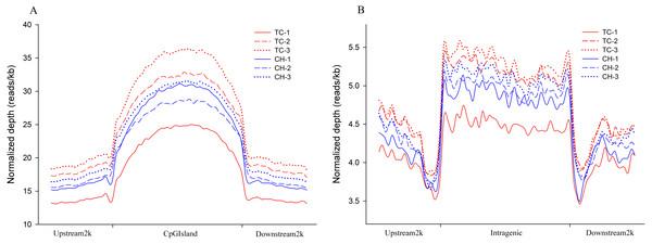 Distribution of MeDIP-Seq reads in different genomic regions.