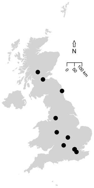 Map of the 12 UK studies (10 papers) included in the analysis.