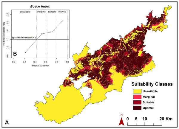 Habitat suitability map.