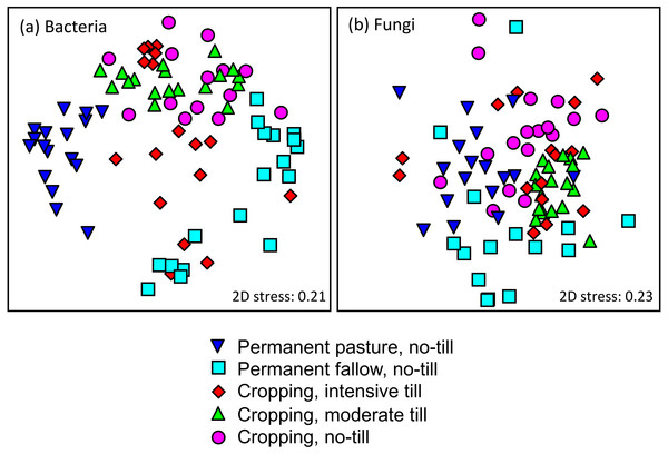 Non-metric multi-dimensional scaling plots of (A) bacteria; and, (B) fungi grouped according to treatments.