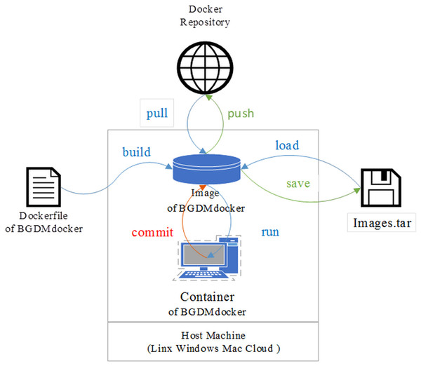 Schematic of BGDMdocker workflow based on Docker: building image and running container from Dockerfile, then login interaction patterns to run software.