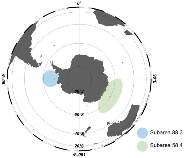 Areas in Antarctica for Antarctic toothfish (Dissostichus mawsoni) samples.