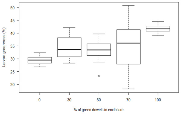 The response of B. betularia larvae to different ratios of green and brown dowels.