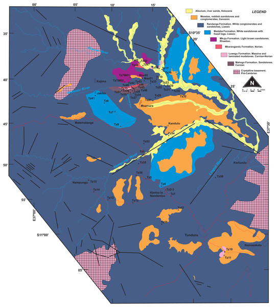 Surface geology map of the study area (part of Quarter Degree Sheets 301, 302, 313, 314 from the Geological Survey of Tanzania).