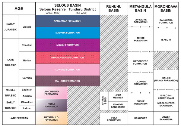 Stratigraphic chart of the Selous Basin and tentative correlation with neighbouring basins (compiled from Hankel, 1987; Piqué et al., 1999; Catuneanu et al., 2005; Araújo, Castanhinha & Junior, 2012).