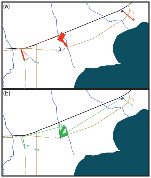 Schematic of movement by marked Xenopus laevis in (A) summer and (B) winter between water bodies.