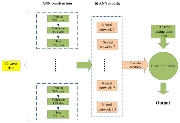 The flow chart of ensemble artificial neural network (EANN) model construction.