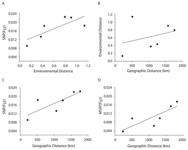 MANTEL matrix correlation test between genetic (Fst), environmental (Euclidean) and geographic distances (km).