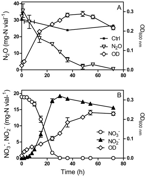 Methylophaga nitratireducenticrescens JAM1 growth with N2O or                                                   ${\mathrm{NO}}_{3}^{-}$                                                                                                                      NO                                                                                                3                                                                                                −                                                                                                           as an electron acceptor.