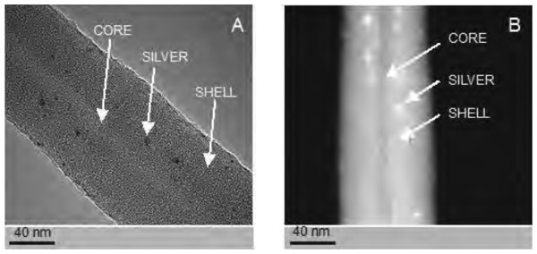 Examples of silver-nanoparticle-doped nanofibres generated by electrospin.