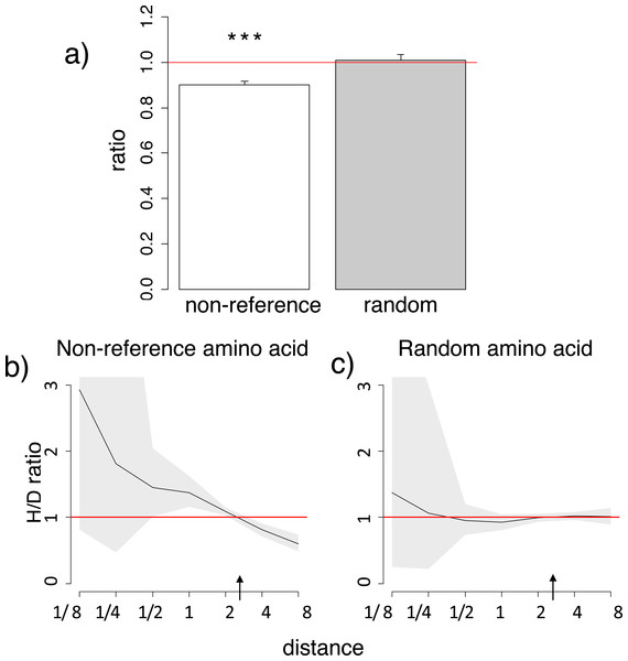 Homoplasic substitutions to the human non-reference amino acid tend to occur in species closely related to human.