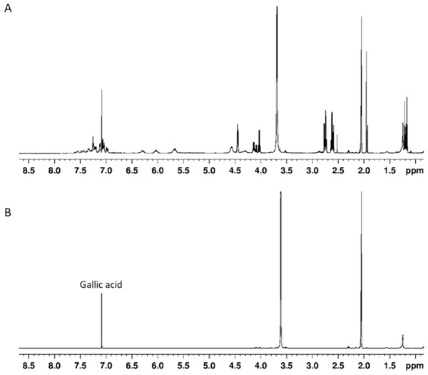 (A) 1H NMR spectrum of sumac ethylacetate extract in acetone-d6/D2O (9:1) v/v mixture, (B) 1H NMR spectrum of gallic acid in acetone-d6/D2O (9:1) v/v mixture.