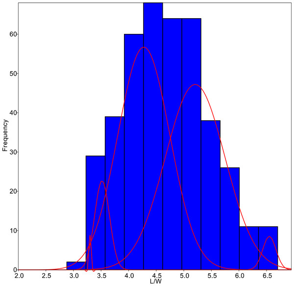 L/W histogram for the whole dataset and MA distributions adjusted to five classes (red curves).