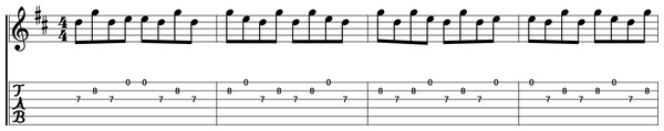 "A system of modern guitar tablature for the song ""Weird Fishes"" by Radiohead, complete with common western music notation above."