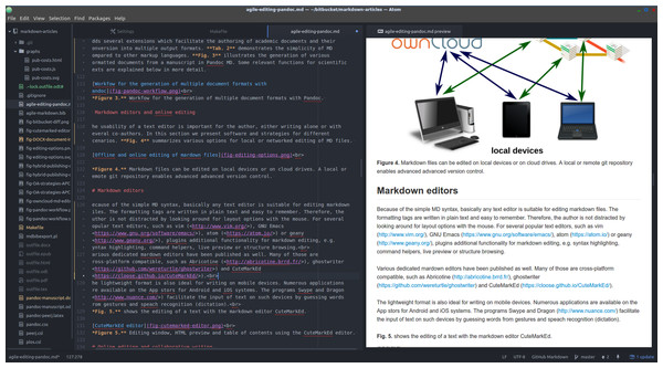 Document directory tree, editing window and HTML preview using the Atom editor.