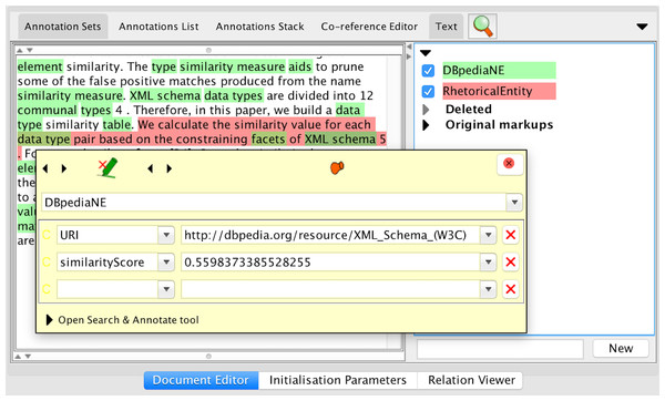 Example annotated document for a contribution (RhetoricalEntity) and the competence topics (DBpediaNEs) within its boundaries in GATE graphical user interface.