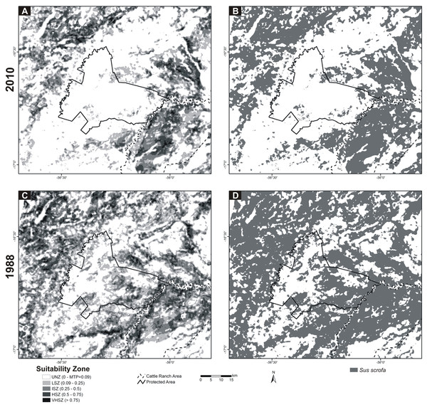 MAXENT Environmental Suitability Maps for Sus scrofa in Northern Pantanal.