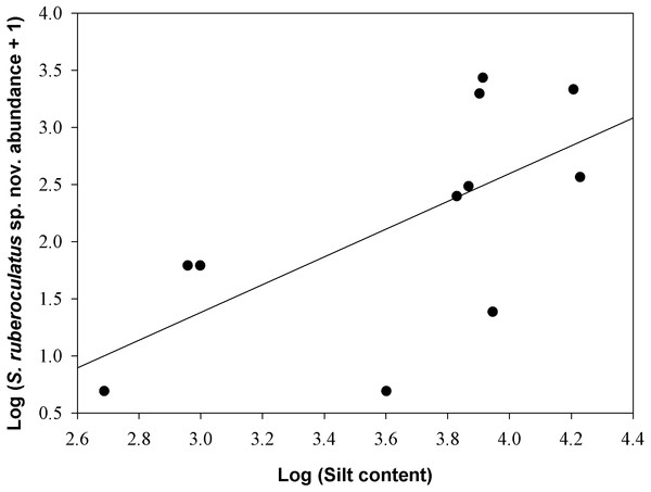 Relationship between the abundance of Scinax ruberoculatus sp. nov. and silt content in the Purus-Madeira Rivers Interfluve, Amazonas, Brazil.