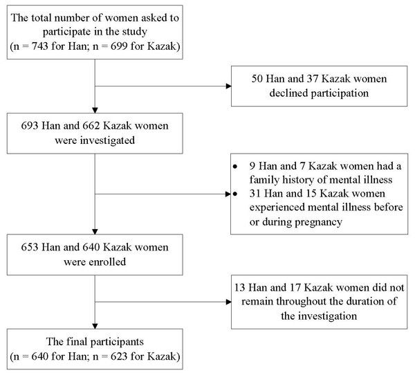 The flowchart of recruitment of women for this study.