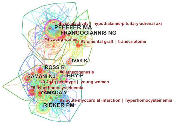Co-citation map of authors who published articles on the gene research of myocardial infarction during 2001–2015.