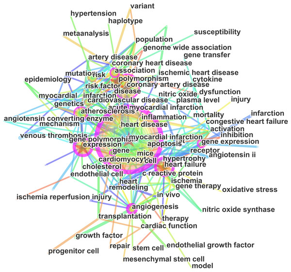 Keywords networks based on articles on the gene research of myocardial infarction during 2001–2015.