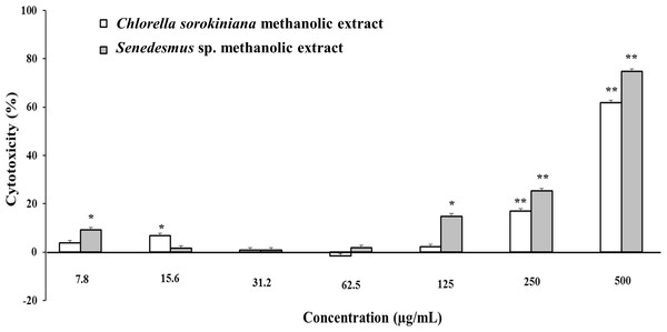 L5178Y-R tumor cell toxicity of Chlorella sorokiniana and Scenedesmus sp. methanol extracts.